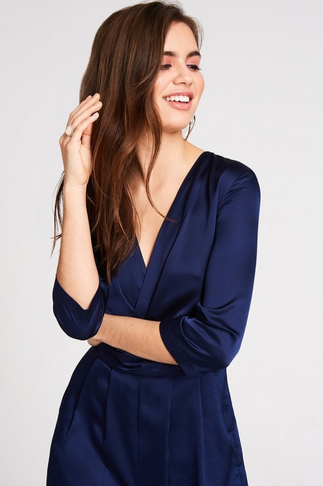 Outlet Girls On Film Sala Navy Satin Jumpsuit