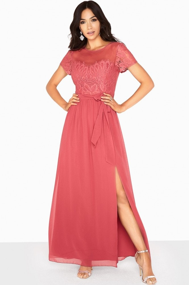 Little Mistress Sara Eyelash Lace Top Maxi Dress
