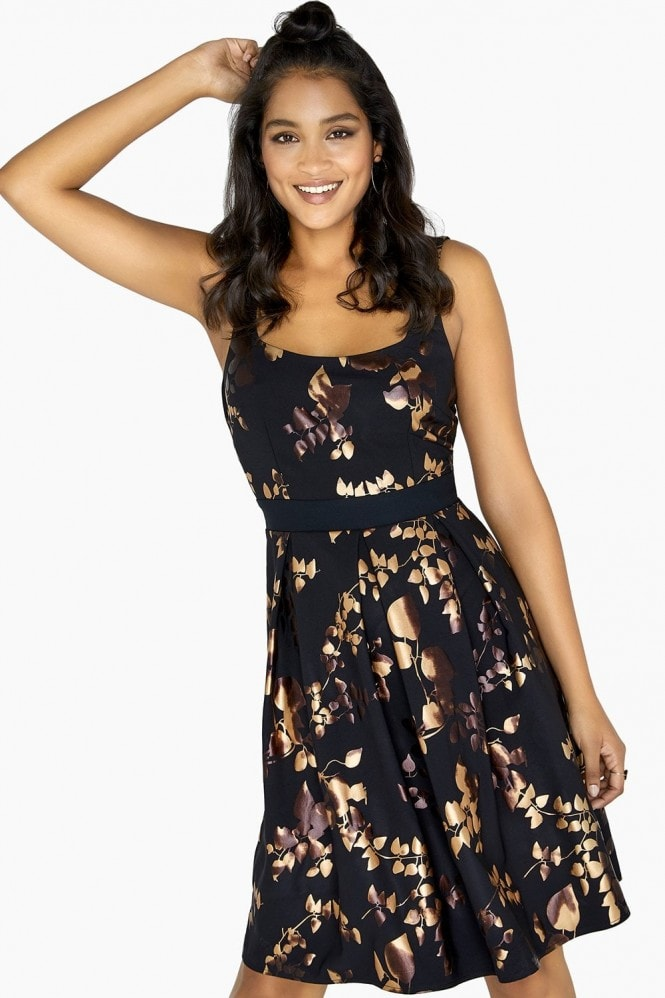Little Mistress Fifi Gold Foil Skater Dress