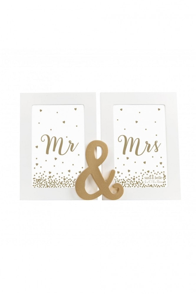 Sass & Belle Sass & Belle Mr And Mrs Gold Double Photo Frame