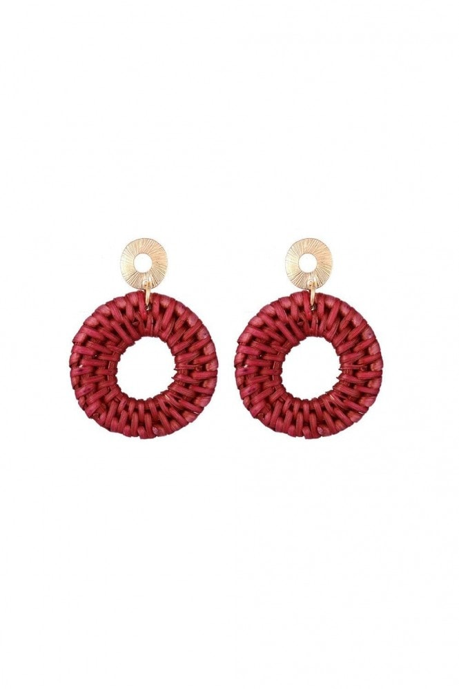 Burgundy Woven Drop Hoop Pendant Earrings