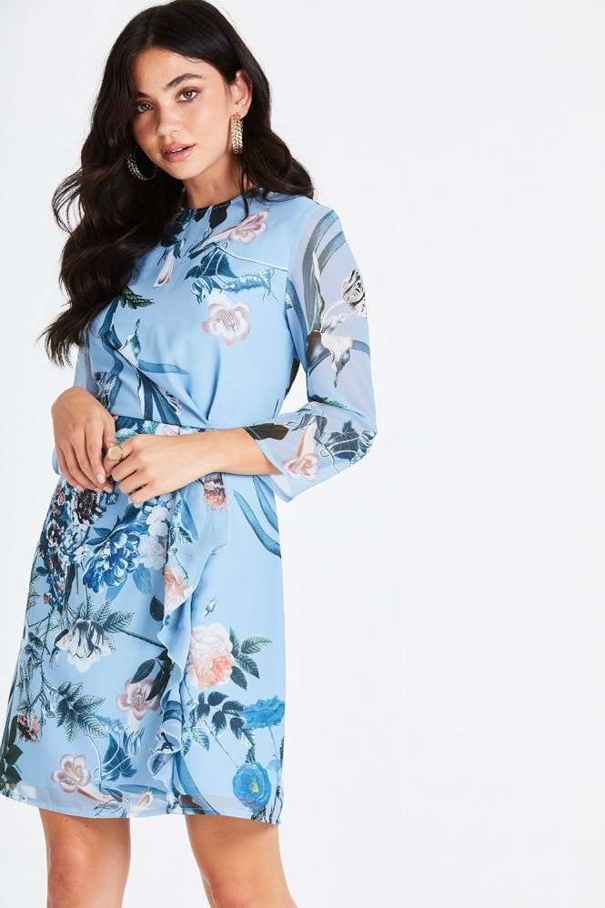 Little Mistress Rori Blue Floral Mini Shift Dress