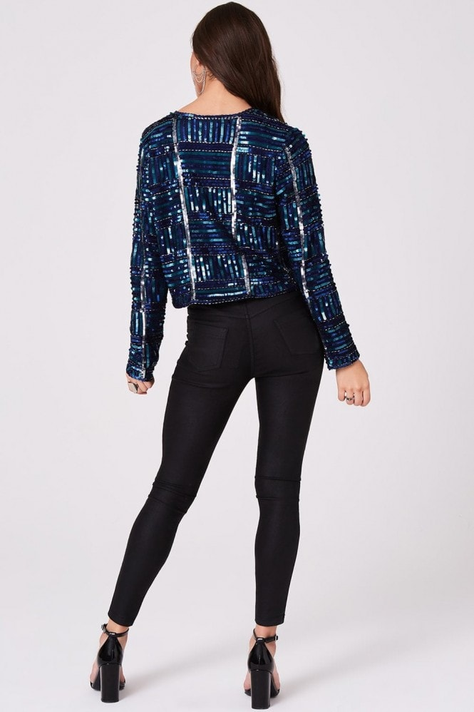Little Mistress Luxury Leomie Check Hand-Embellished Sequin Jacket