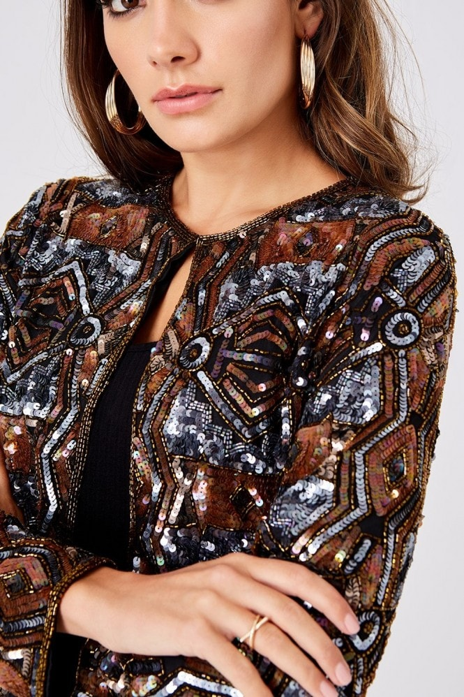 Little Mistress Luxury Leomie Copper And Gunmetal Hand-Embellished Sequin Jacket