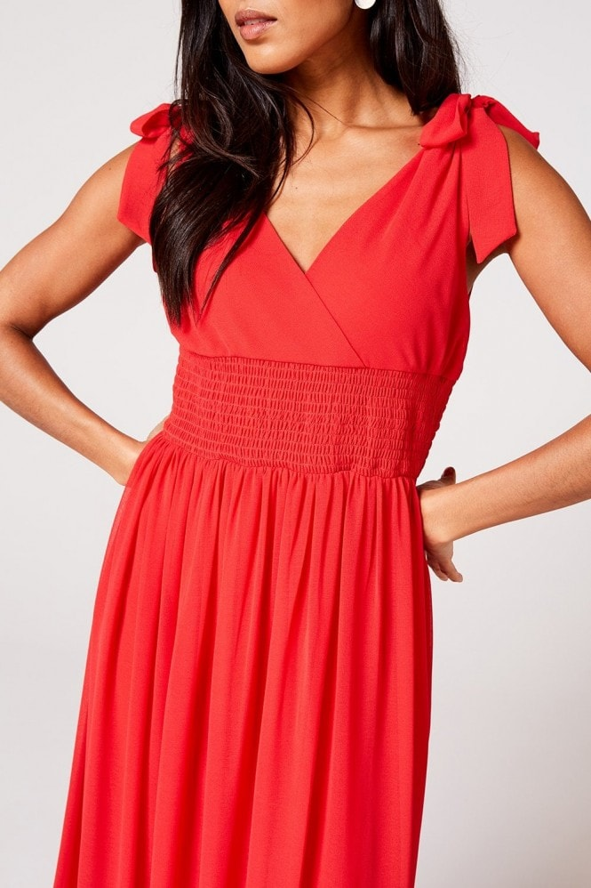 Rock n Roll Bride Aries Fiery Coral Plunge Maxi Dress