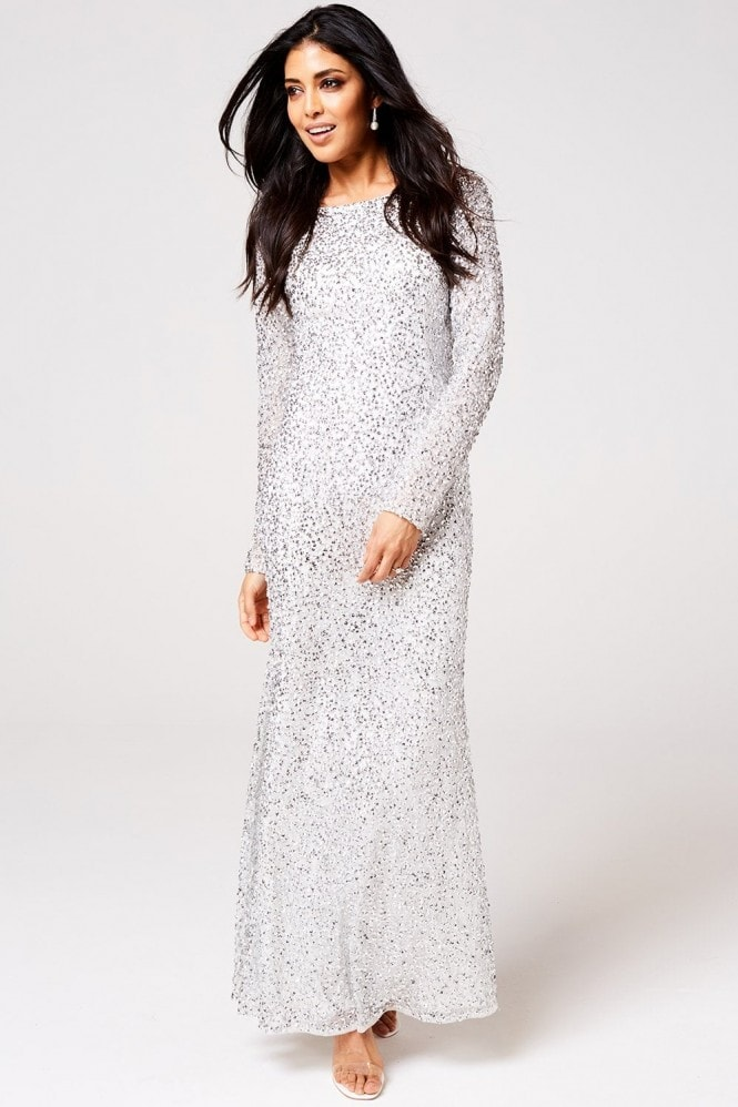 Rock n Roll Bride Pandora White and Silver Sequin Maxi Dress