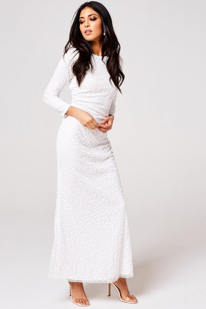 Rock n Roll Bride Pandora White Embellished Maxi Dress