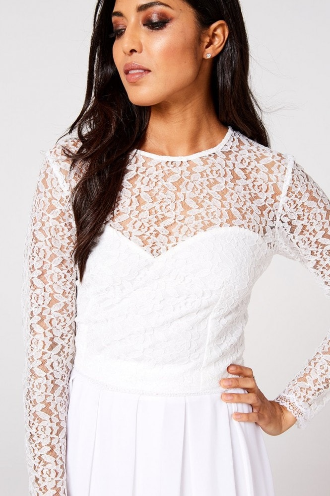 Rock n Roll Bride Athena White Lace Top Co-ord