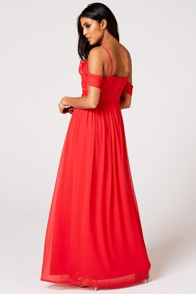 Rock n Roll Bride Cameo Fiery Coral Draped Maxi Dress