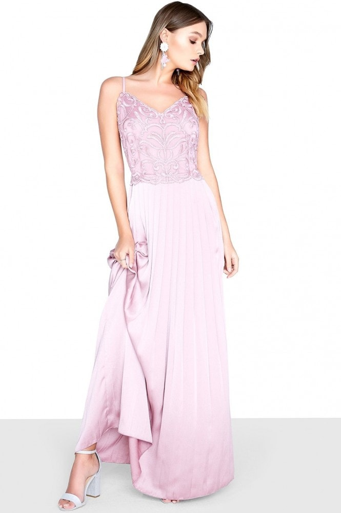 Blush Satin Maxi Dress