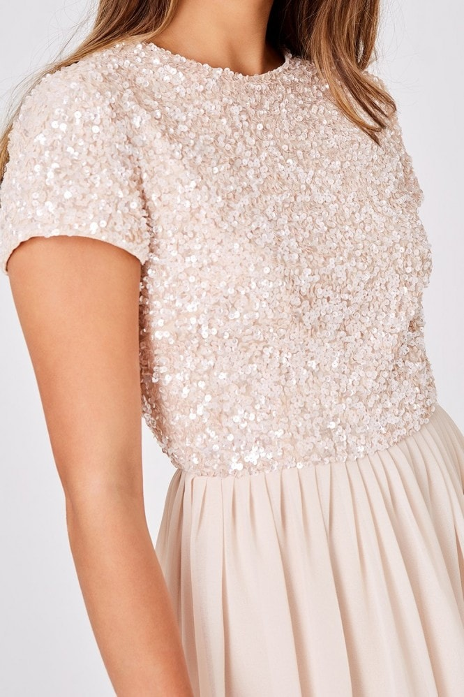 Little Mistress Luxury Elise Nude Hand Embellished Sequin Prom Dress