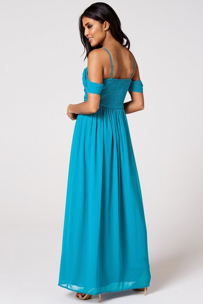 Rock n Roll Bride Cameo Blue Jewel Draped Maxi Dress