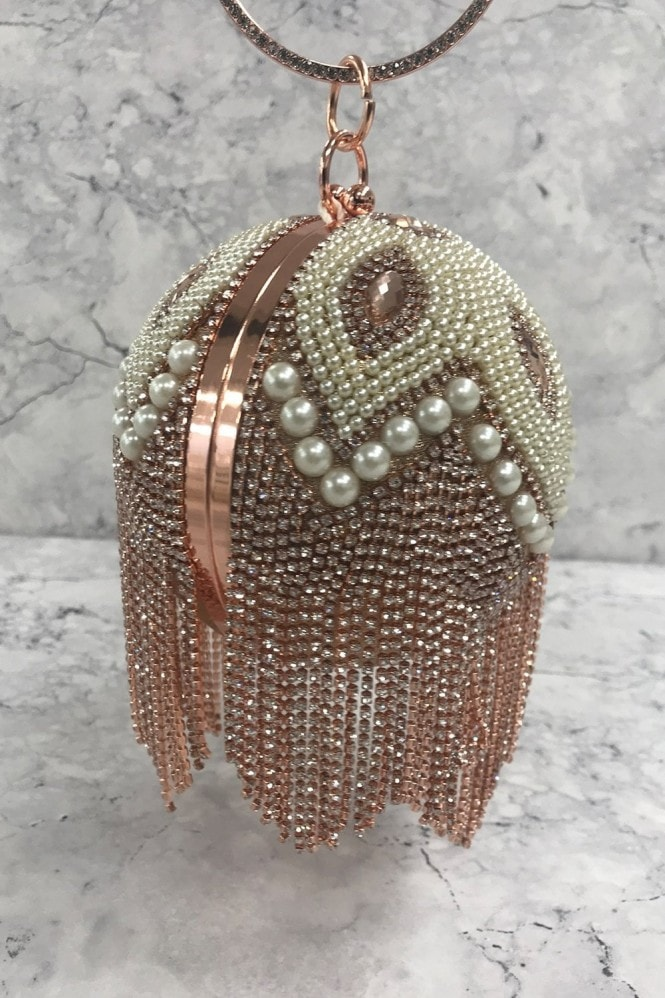 Pink Diamanté and Pearl Fringe Sphere Clutch Bag