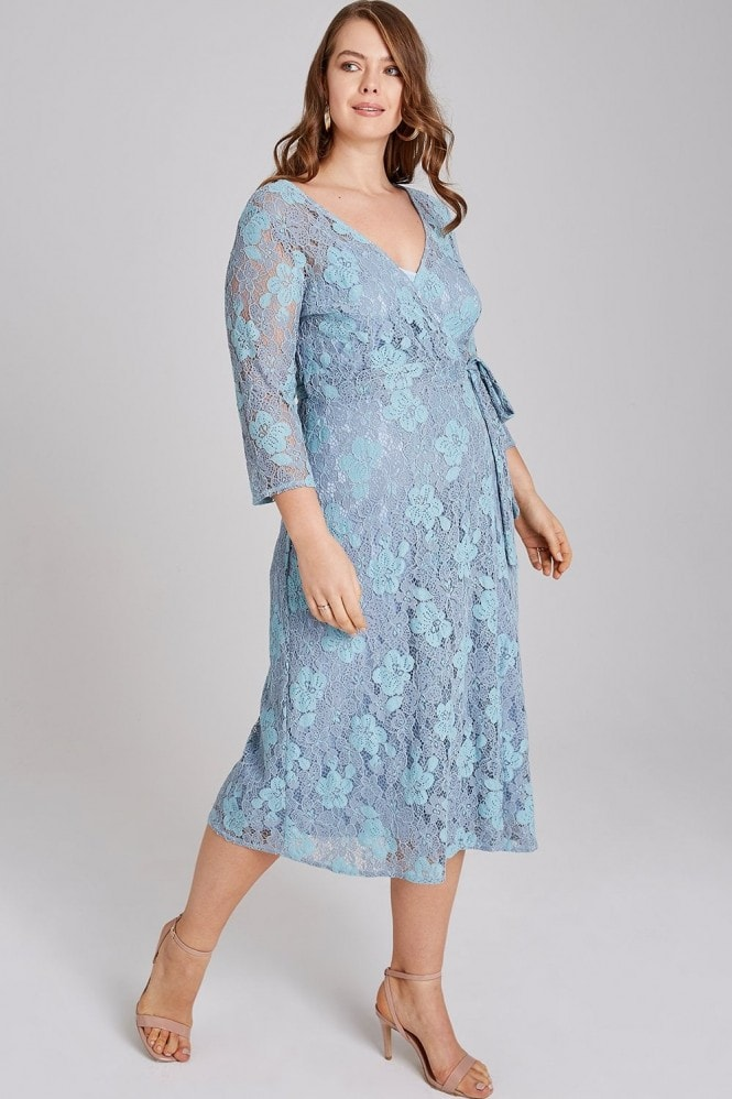 Little Mistress Curvy Alexina Two Tone Lace Wrap Midi Dress
