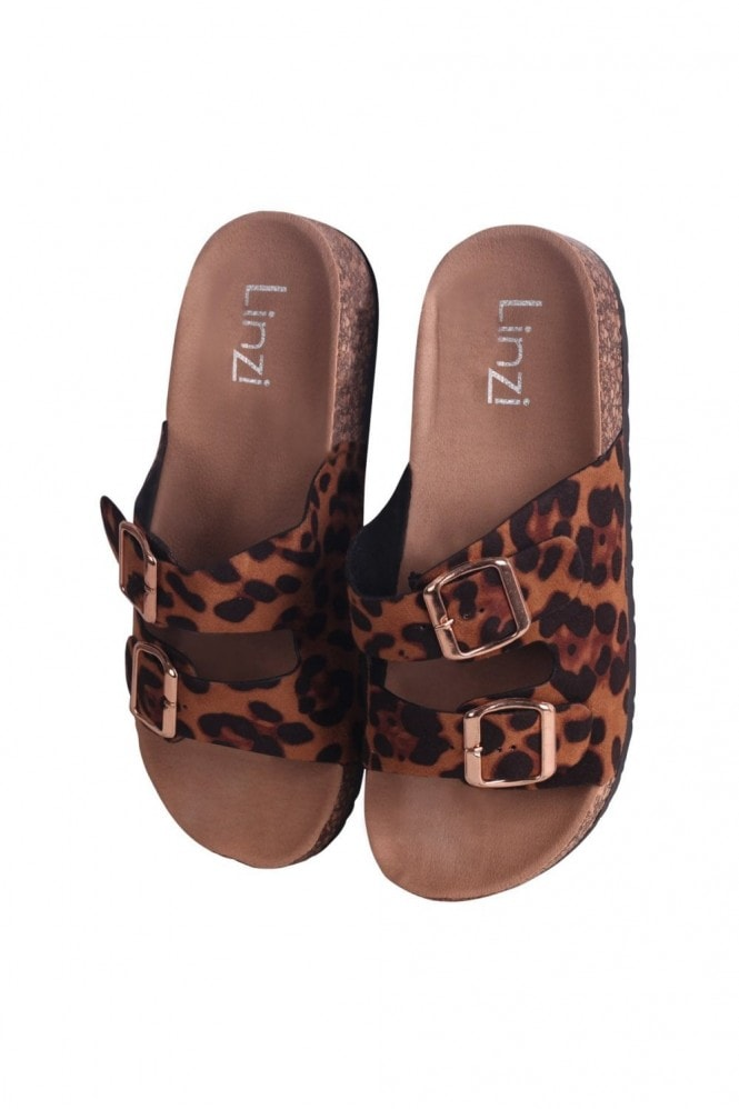 Linzi DENISE - Leopard Suede Slip On Slider With Double Buckle Front Strap