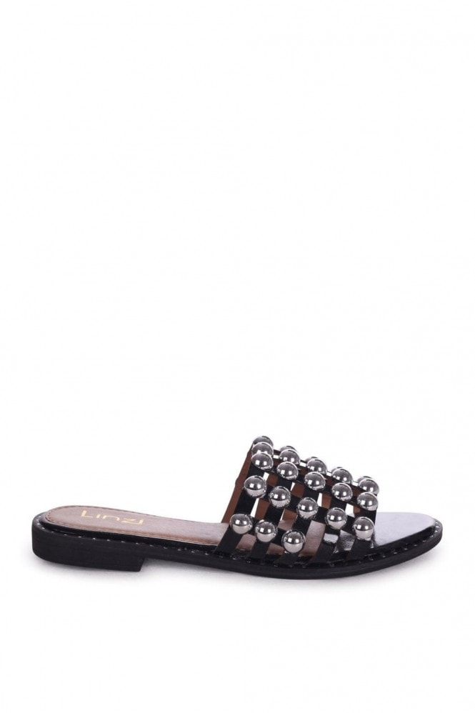 Linzi COOKIE - Black Slip On Slider With Studded Front Strap