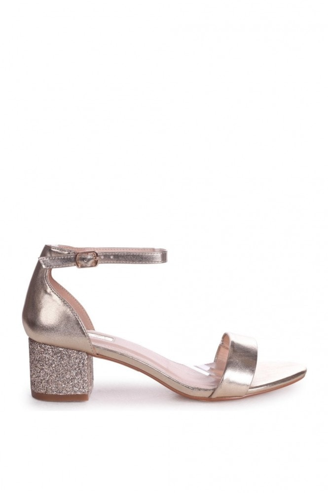 Linzi LOLLIE - Gold Metallic Heavy Glitter Block Heeled Sandal