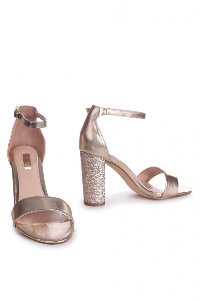 Linzi KORI - Gold Barely There With Glitter Block Heel