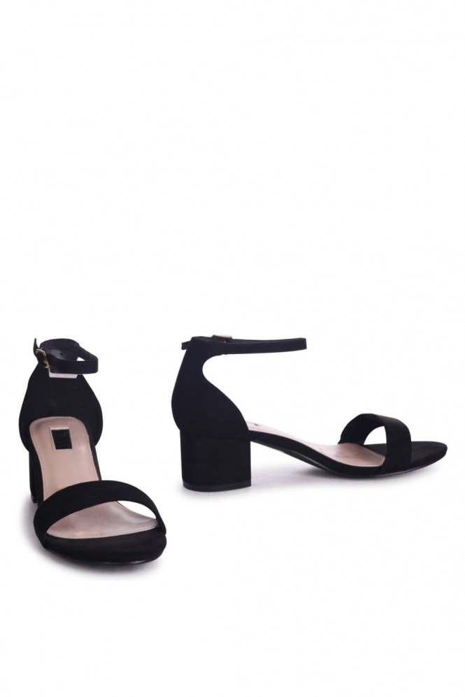 Linzi HOLLIE - Black Suede Barely There Block Heeled Sandal With Closed Back