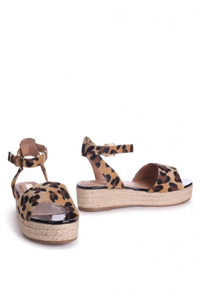 Linzi Destiny Leopard Print Espadrilles Inspired Two Part Flatforms With Buckle Detail