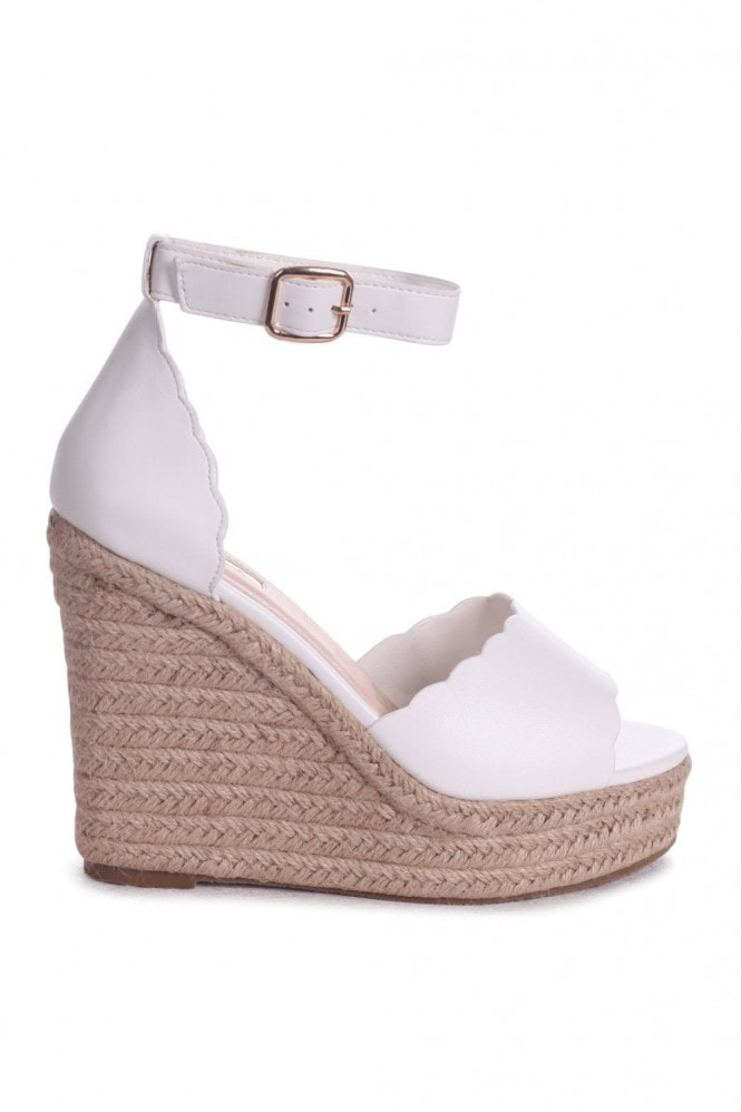 Linzi CHERISH - White Nappa Rope Platform Wedge With Wavey Front Strap