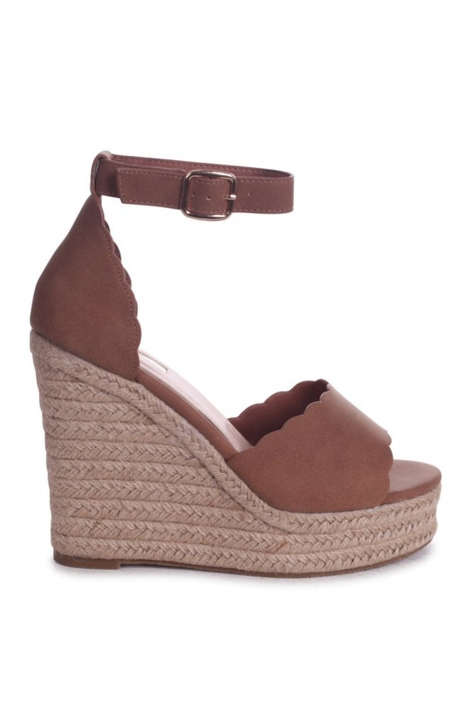 Linzi CHERISH - Tan Suede Rope Platform Wedge With Wavey Front Strap