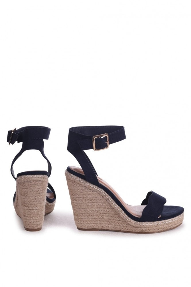 Linzi MARS - Navy Suede Rope Platform Wedge With Wavey Front Strap