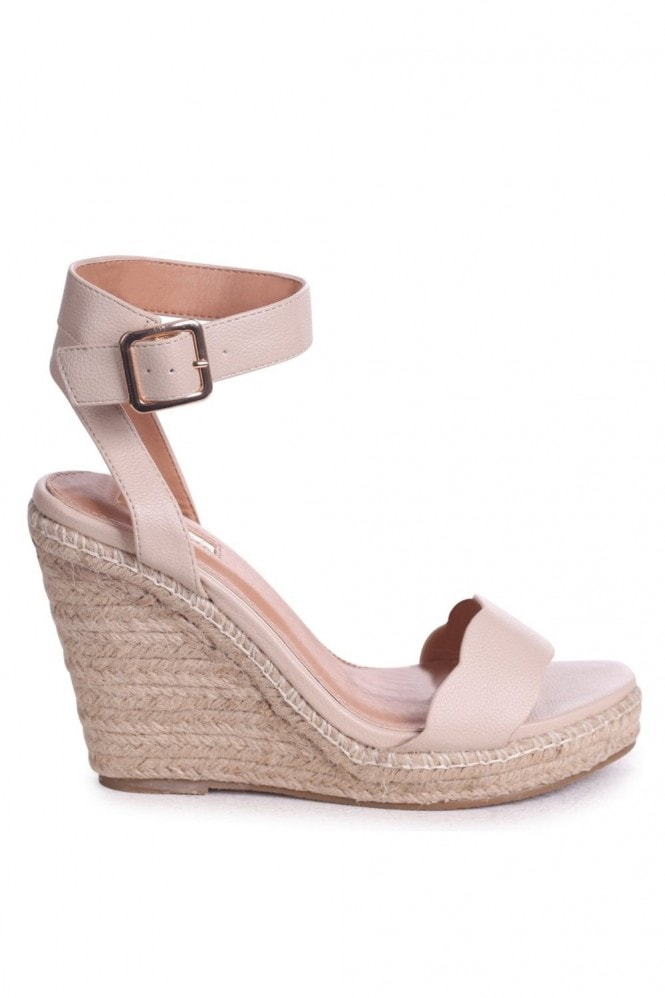 Linzi Mars Beige Nappa Rope Platform Wedges With Wavey Front Strap
