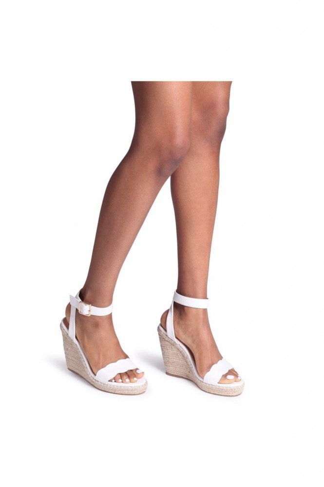Linzi MARS - White Nappa Rope Platform Wedge With Wavey Front Strap