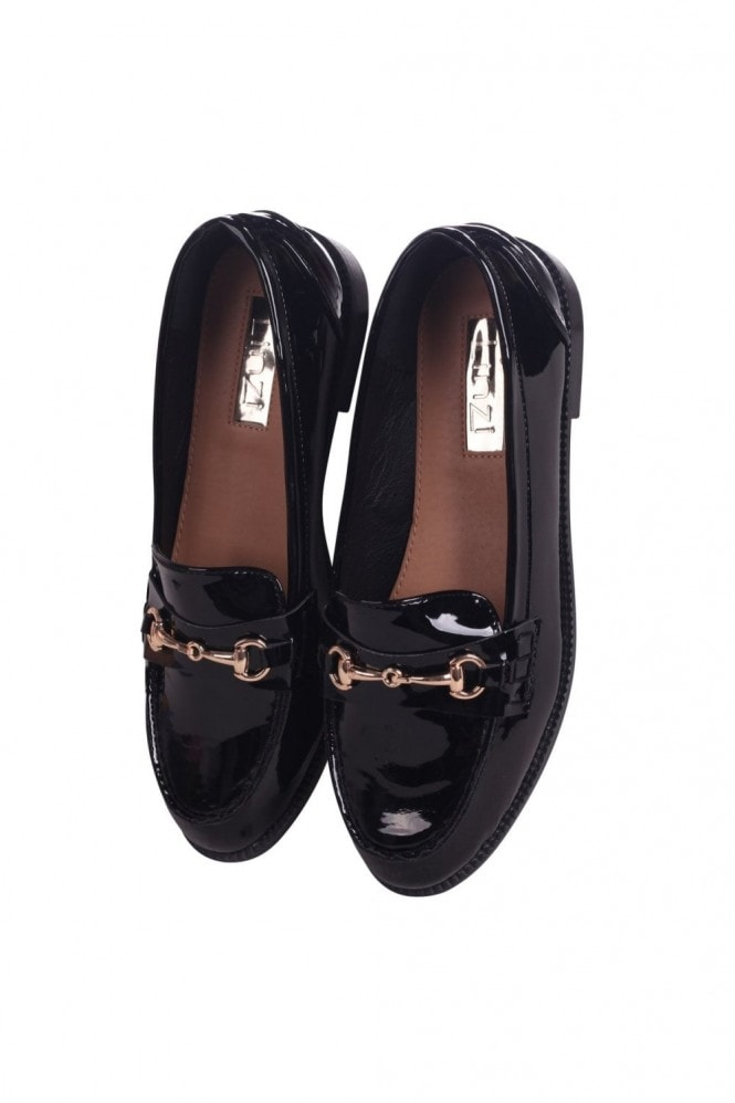 Linzi Rosetta Black Patent Slip On Loafers With Gold Bar Front Detail