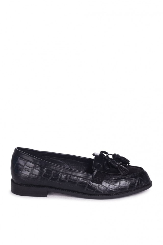 Linzi NELLE - Black Croc & Suede Classic Loafer with Bow & Fringing