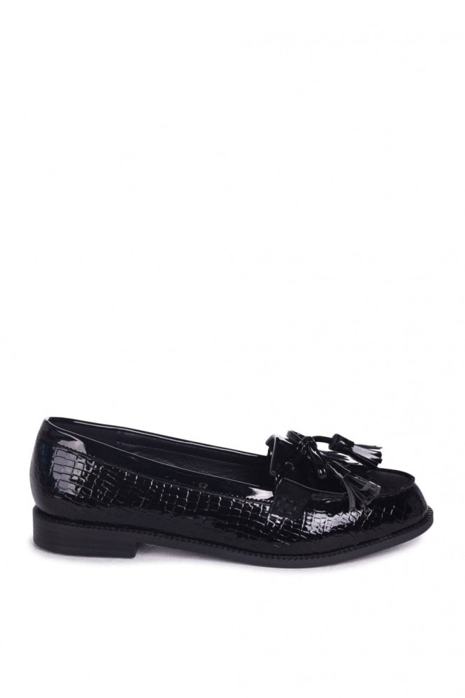 Linzi NELLE - Black Croc Patent & Suede Classic Patent Loafer with Bow & Fringing