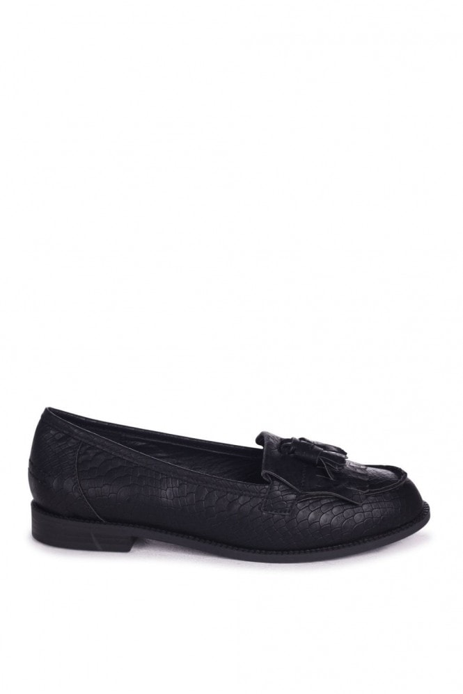 Linzi ROSEMARY - Black Snake Faux Leather Classic Slip On Loafer