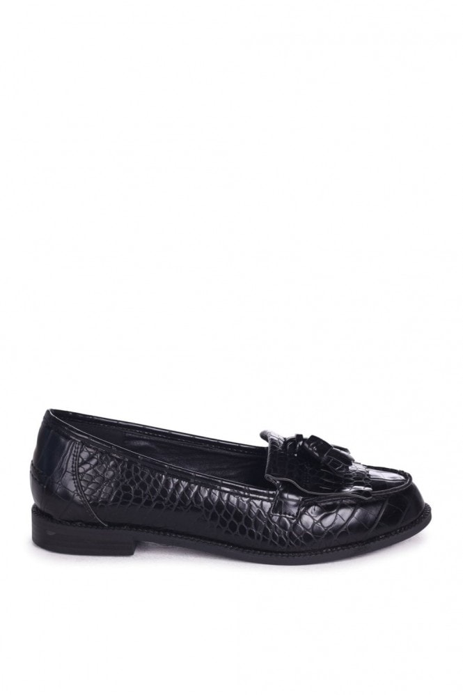 Linzi ROSEMARY - Black Croc Faux Leather Classic Slip On Loafer