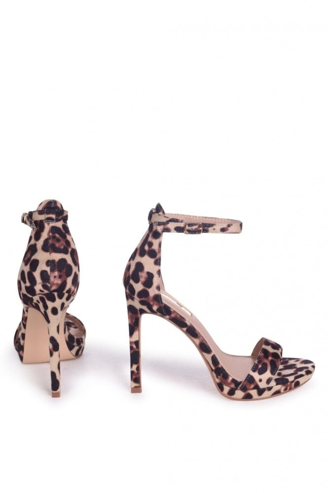 Linzi Gabriella Natural Leopard Suede Barely There Stiletto Heels With Slight Platform