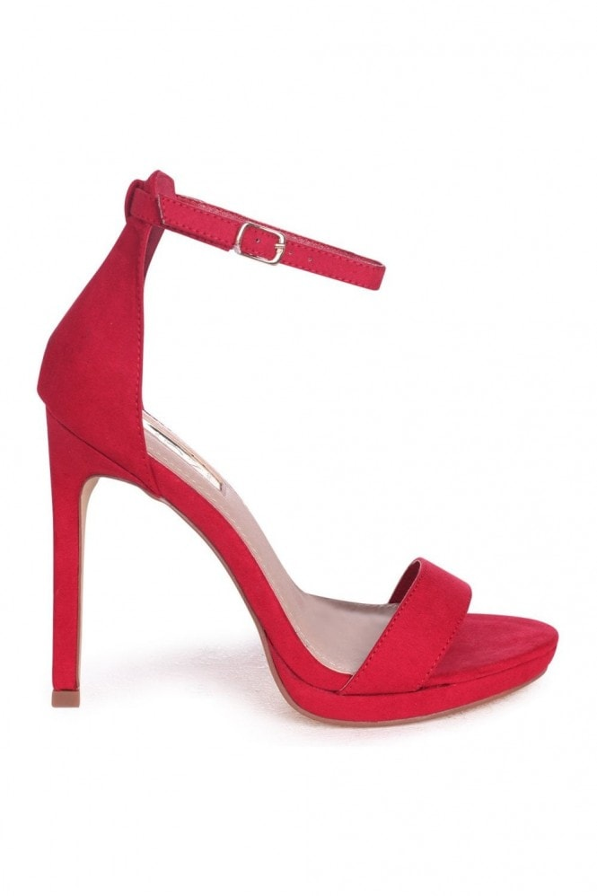 Linzi GABRIELLA - Red Suede Barely There Stiletto Heel With Slight Platform