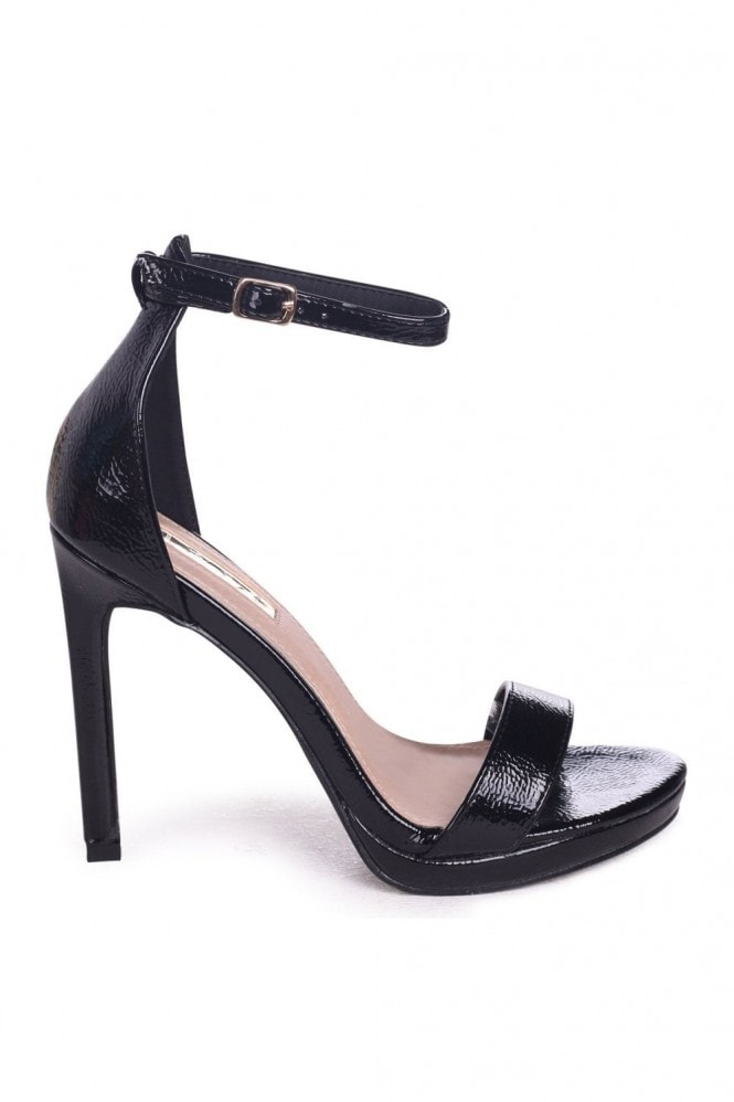 Linzi GABRIELLA - Black Patent Barely There Stiletto Heel With Slight Platform