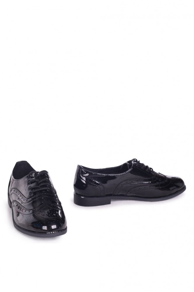 Linzi ROSINA - Black Patent Classic Lace Up Brogue