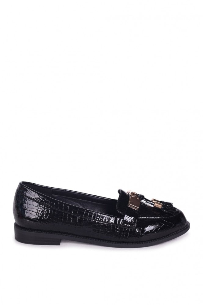 Linzi TONIA - Black Croc Patent Classic Loafer with Gold Bar & Tassel Detail