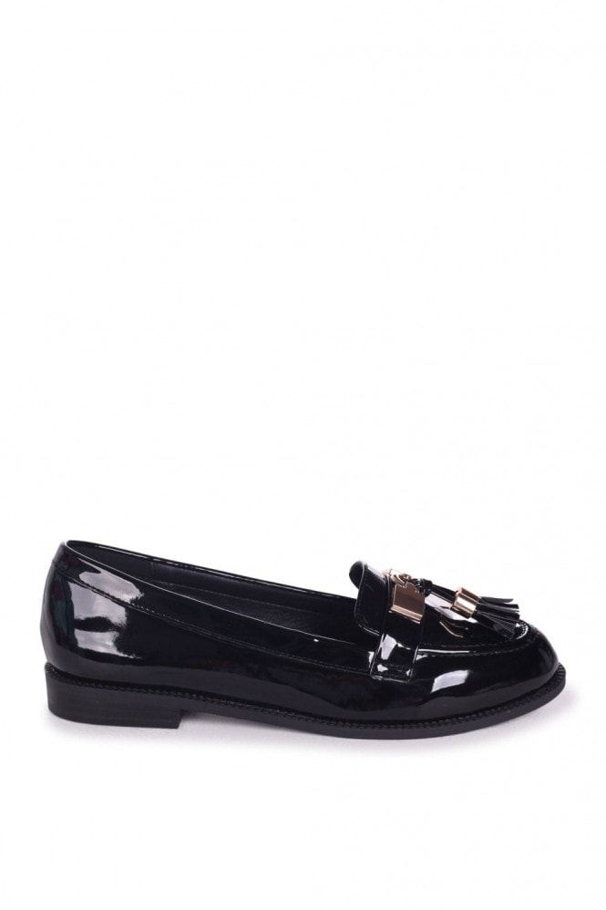 Linzi TONIA - Black Patent Classic Loafer with Gold Bar & Tassel Detail