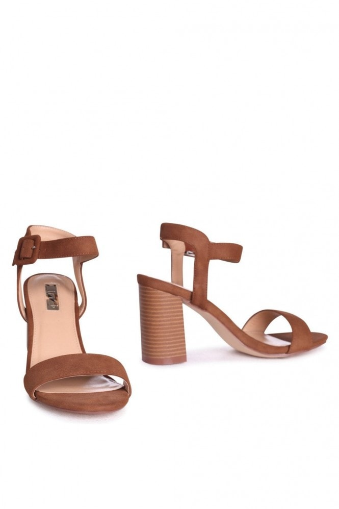Linzi Kate Tan Suede Open Toe Stacked Block Heels With Ankle Straps
