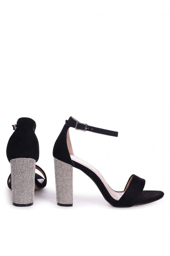 Linzi Kensey Black Suede Barely There With Diamante Heels