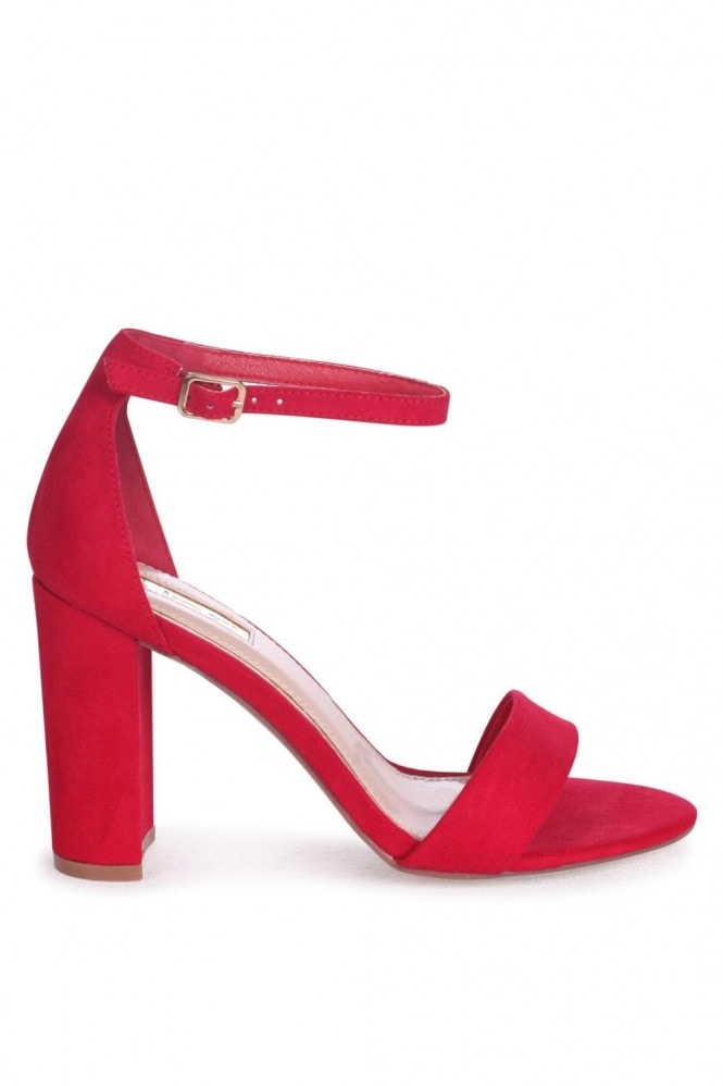 Linzi Nelly Red Suede Single Sole Block Heels