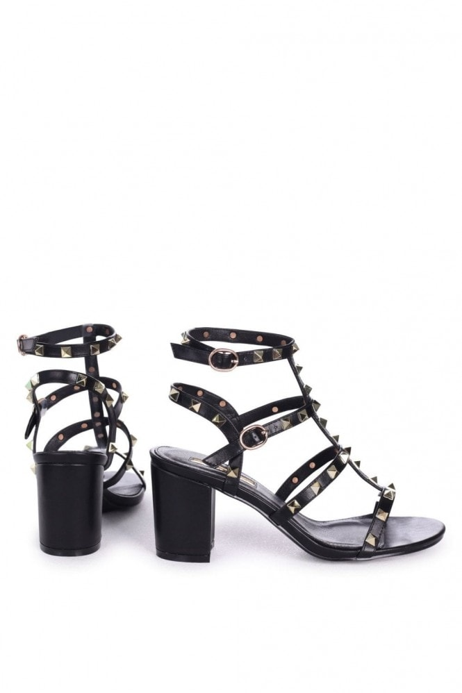 Linzi TESSA - Black Studded Block Heeled Sandal