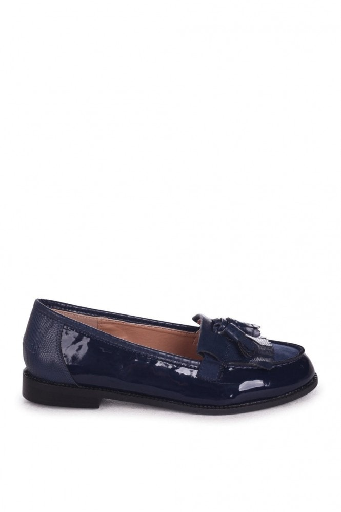 Linzi ROSEMARY - Navy Patent And Lizard Classic Slip On Loafer