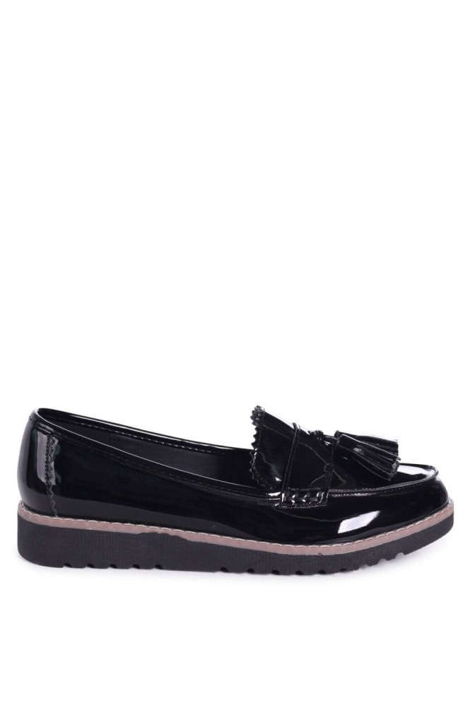 Linzi VICKY - Black Patent Classic Slip On Loafer With Tassel Detail