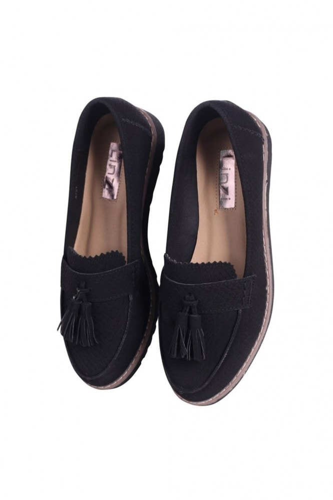 Linzi VICKY - Black Snake Classic Slip On Loafer With Tassel Detail