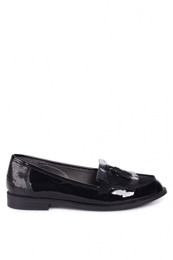 Linzi ROSEMARY - Black Patent Lizard Classic Slip On Loafer