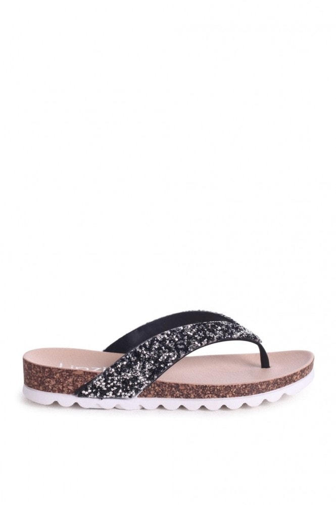Linzi JANA - Black Footbed Style Flip Flop With Glitter Straps