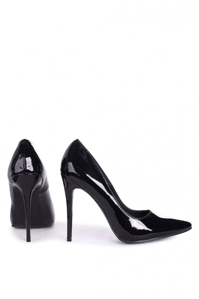 Linzi ASTON - Black Patent Classic Pointed Court Heel